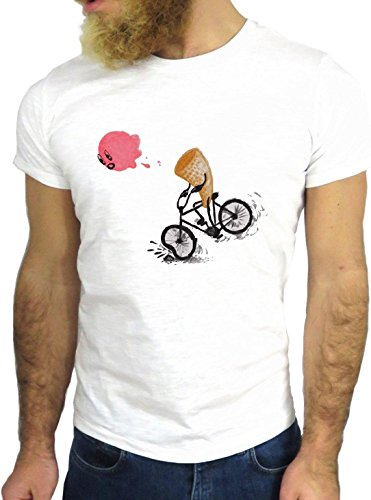 T-SHIRT JODE GGG24 Z1025 ICE CREAM BICYCLE BYKE CARTOON COOL COLORS BIANCA - WHITE XL