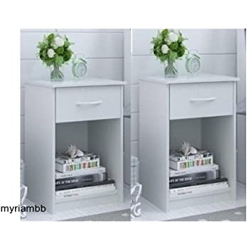 This Item Set Of 2 Nightstand MDF End Tables Pair Bedroom Table Furniture  Multiple Colors (White)