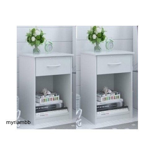 Set of 2 Nightstand MDF End Tables Pair Bedroom Table Furniture Multiple Colors (White) by Mainstays