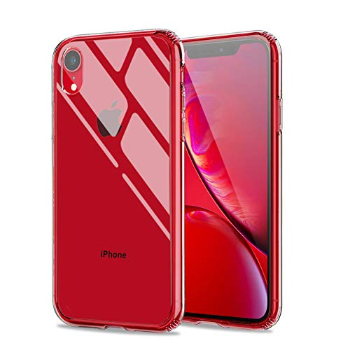 Meidom Case for iPhone XR Crystal Clear Slim Fit with Silicone Bumper and Tempered Glass Back Double Protection Phone Case for iPhone XR (6.1 inch) - Clear