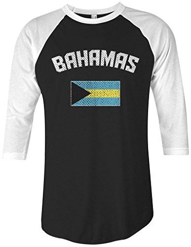 Threadrock Bahamas Flag Unisex Raglan T-shirt S Black/White (Raglan Flag Tee)