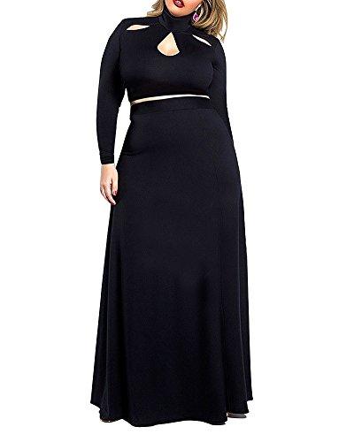 SaiDeng Mujeres Tallas Grandes Señoras Vestidos De Cóctel Tallas Grandes Fiesta Casual Un Color Maxi Negro