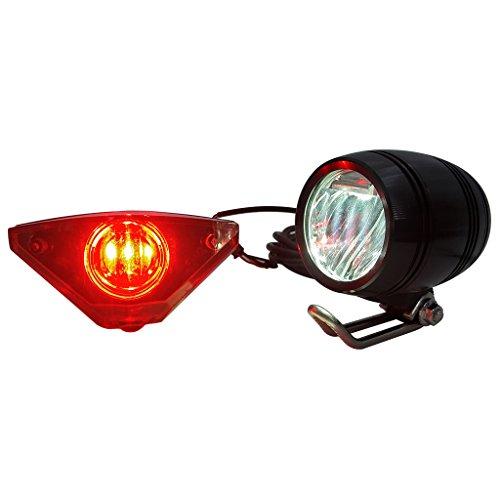 ZOOMPOWER 6v - 80v 12v 24v 36v 48v 60v 72v universal e-bike headlight taillight set front light headlamp rear light taillamp bafang 3w by ZOOMPOWER