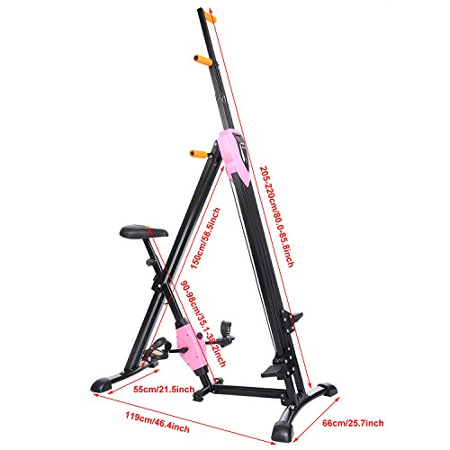 Vertical Climber Gym Exercise Fitness Folding Machine Stepper Cardio Workout for Home Body Training (Pink)