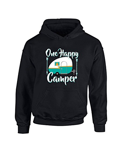 H&T Shirt Hoodies For Women Men One Happy Camper Clothes Pullover Hoodie Hooded (Happy Shirts T-shirt Sweatshirt)