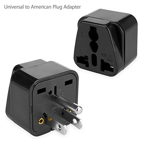 BoxWave Universal to American Outlet Plug Adapter - With Ground Pin – Plug outlet adapter to USA with 3rd Grounding Pin- Great for Traveling! (American Plug Adapter)