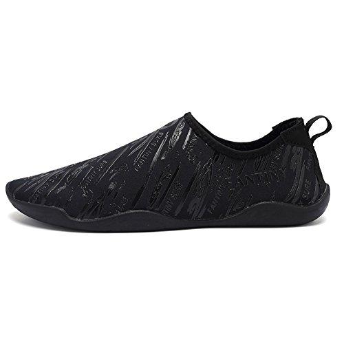 CIOR Männer Frauen Barfuß Quick-Dry Wasser Sport Aqua Schuhe mit 14 Drainage Löcher für Schwimmen, Walking, Yoga, See, Strand, Garten, Park, Fahren D.schwarz