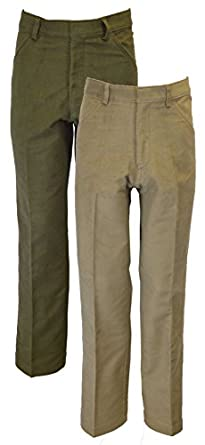 Men's Vintage Christmas Gift Ideas Mens Classic Moleskin 100% Cotton Pants - Olive / Beige  AT vintagedancer.com