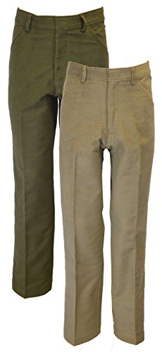 Wool Zip Fly Trousers (Walker & Hawkes - Mens Classic Moleskin 100% Cotton Pants - Beige - W42 Short (29''))