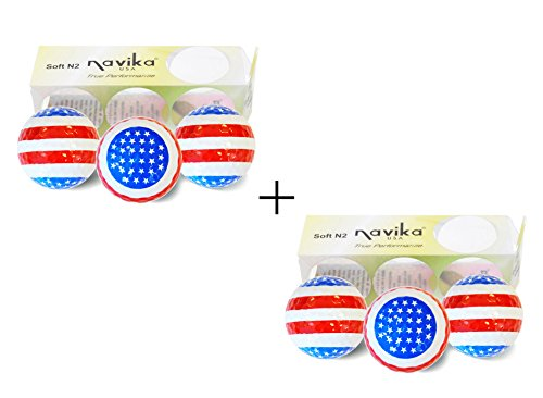 Navika Patriotic USA Flag Golf Balls COMO 2 PACK (Sleeve of 3 Balls) - Standard Flag Golf Golf