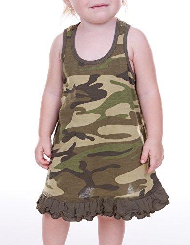 Kavio! Infants Girls Camouflage A-Line Tank Dress Camo Army Green 24M