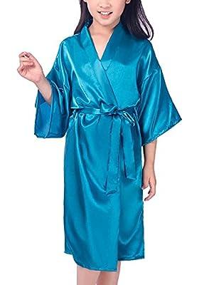 Mobarta Girls Satin Kimono Robe Fashion Bathrobe Silk Nightgown For Spa Party Wedding Birthday Gift