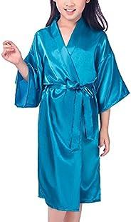 Mobarta Kids' Satin Kimono Robe Girls Bathrobe for Spa Party Birthday