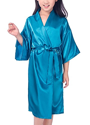 Mobarta Girls Kids Satin Kimono Robe Fashion Bathrobe Silk Nightgown Getting Ready Robe for Wedding Spa Party Birthday Gift