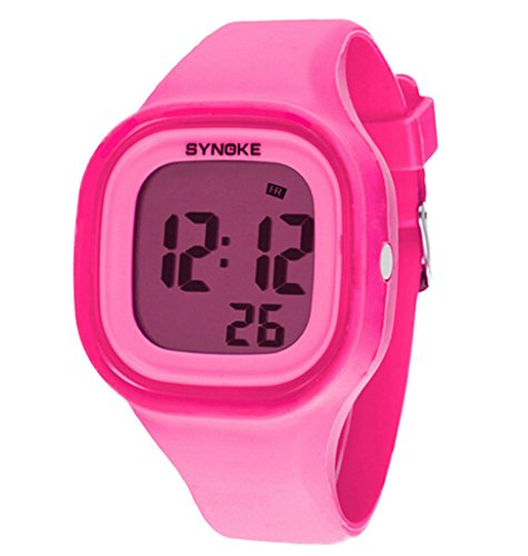 Boys Girls Multi-Function Summer Jelly Digital LED Display Watch Outdoor Waterproof Sports Watches Pink by YJLHCYGG