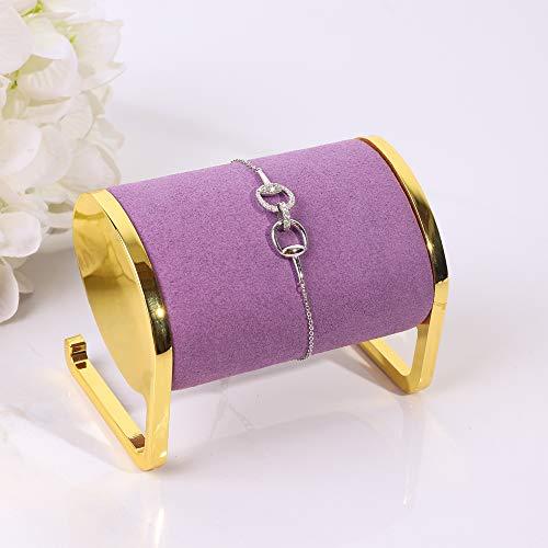 Soporte exhibidor de joyeria metal dorado terciopelo purpura