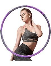 Hoelahoep Fitness, AUCARY afneembare 8-delige fitnessmassage gewichtsverlies hoelahoep, hoepel met gewichten geschikt voor volwassenen, kinderen, beginners (grijs paars)
