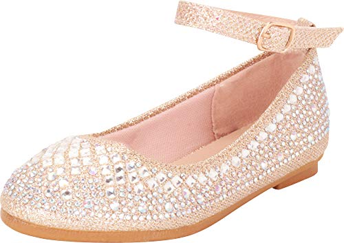 Cambridge Select Girls' Round Toe Ankle Strap Crystal Rhinestone Ballet Flat (Toddler/Little Kid/Big Kid),3 M US Little Kid,Champagne Glitter