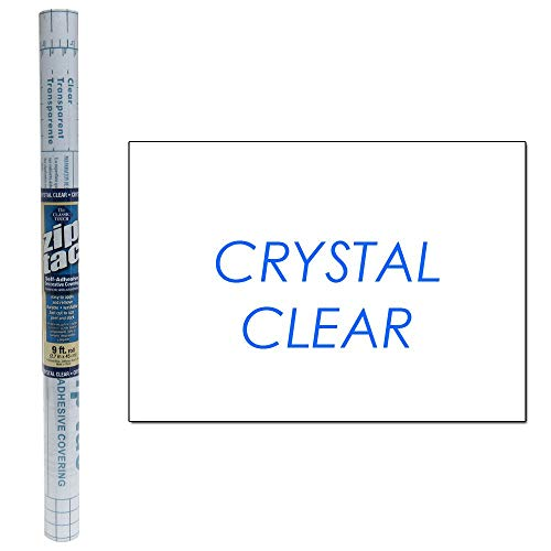 Clear Self Adhesive - Zip Tac Self-Adhesive Shelf Liner - 9ft x17.75in (Crystal Clear)