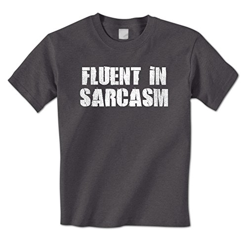 Fluent In Sarcasm - Funny Sarcastic Wise Ass Mens T-Shirt Large Charcoal (Wise Ass)