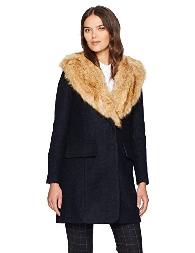 Badgley Mishka Women's Holly Wool Coat Boucle with Faux Fox Fur Collar, Navy, -