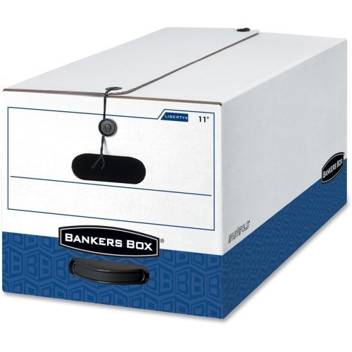 Bankers Box 0001103 Liberty Heavy-Duty Strength Storage Box, Letter, 12 x 24 x 10, White/Blue, 4/CT by Bankers Box