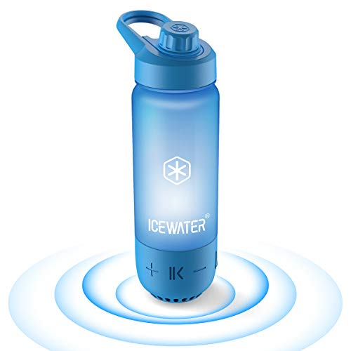 ICEWATER 3-in-1 Smart Water Bottle(Glows to Remind You to Stay Hydrated)+Bluetooth Speaker+ Dancing Lights,22 oz,Stay Hydrated and Enjoy Music,Great Gift (black)