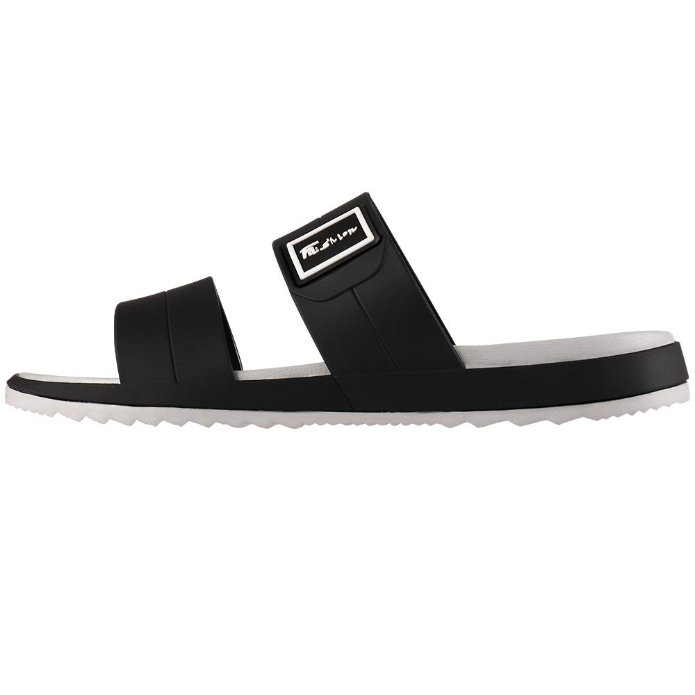Fashion-zone Womens Flat Slide Sandals Comfortable EVA Slip On Shoes for Summer Beach,Black 250