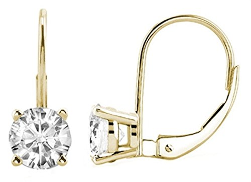 1.00 CTW IGI Certified Round White Diamond Leverback Earrings in 14K Yellow Gold