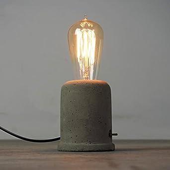 icase4u simple vintage industrial concrete table light edison desk lamp