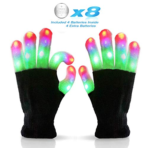 Halloween Idea For Kids (Kids Led Flashing Finger Lights Gloves 3 Colors 6 Modes for 3 4 5 6 7 8 9 10 11 12 13 Years Old Boys Girls top Toys Gifts Ideas)