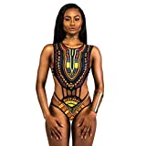 luo man Cute African Print Bikini Set,Women African Print Swimwear Push-up Padded Bra Swimsuit Youth Girls Black S