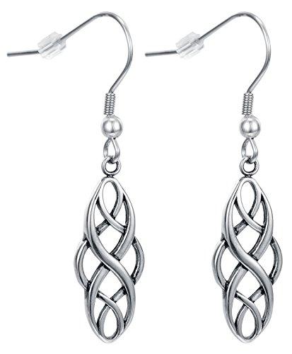 - Celtic knot drop womens girls dangle Twist Wave Fish hook earrings by Regetta Jewelry - Good luck vintage Irish Symbol Jewelry-Stainless Steel for Sensitive Ears