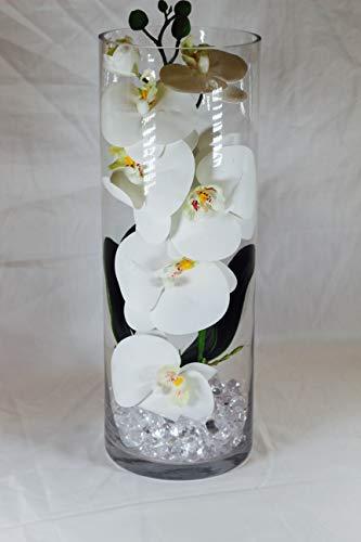 (Elegant Artificial Flower Arrangement, Centerpiece, Phalaenopsis Orchid Silk Fake Flower with Decorative glass Vase Orchid Plant,White )