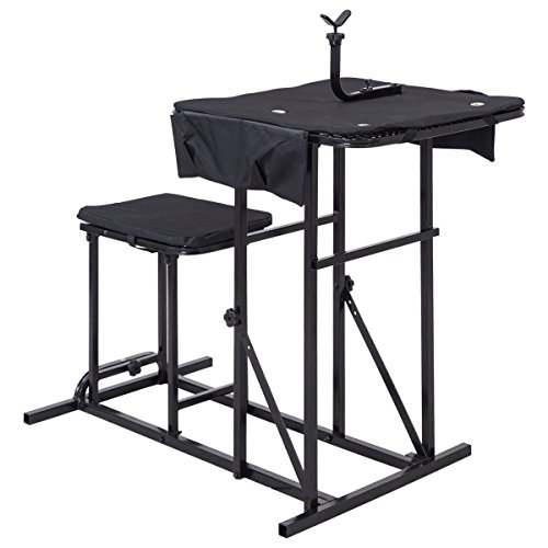 Portable Shooting Chair - Goplus Portable Shooting Table Bench Seat with Adjustable Gun Rest and Ammo Pockets