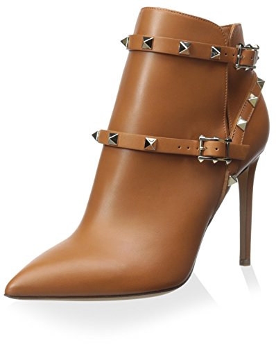 Valentino Women's Rockstud Ankle Boot, Brown, 37.5 M EU/7.5 M US