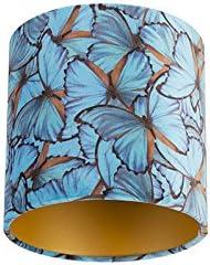 QAZQA Algodón Pantalla terciopelo diseño mariposa 20/20/20 interior dorado, Redonda/Cilíndrica Pantalla lámpara colgante,Pantalla lámpara de pie: Amazon.es: Iluminación