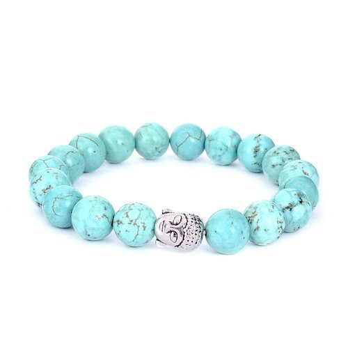 [Sedmart Handmade Turquoise Beads Bracelet Precious Auspicious Gemstone Jewelry Fathers Day Gift] (Auspicious Stone)