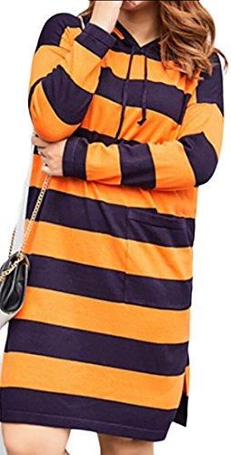 Manica Strisce Donna amp; 1 Con Lunga amp; Hoodie Vestito W Midi M Tasche Da S Pullover qxIn0tt