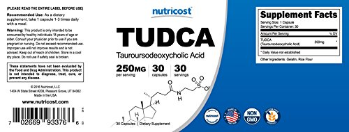 Nutricost Tudca 250mg, 30 Capsules (Tauroursodeoxycholic Acid)