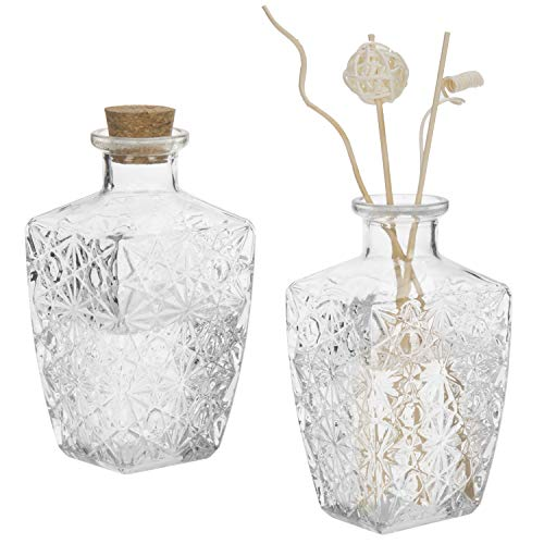 Clear Glass Diffuser - MyGift Diamond-Faceted Clear Glass Diffuser Bottles with Corked Lids, Set of 2