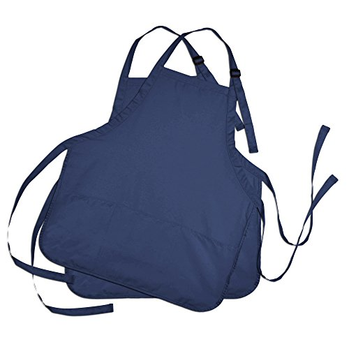 Apron Commercial Restaurant Home Bib Spun Poly Cotton Kitchen Aprons (3 Pockets) in Navy Blue 2 Pack (Promotional Apron)