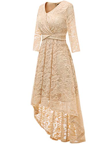 DRESSTELLS Robe de Cocktail Robe de cérémonie Dentelle asymétrique col en V Manches 3/4