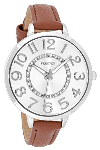 Brown Sunray Dial - Women's Watches by Ferenzi - Classic Silver-Tone Sunray Dial with Brown Padded PU Leather Band Watch - Make Every Second Count - FZ17706