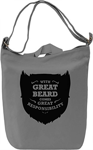 With Great Beard Comes Great Responsibility Borsa Giornaliera Canvas Canvas Day Bag| 100% Premium Cotton Canvas| DTG Printing|