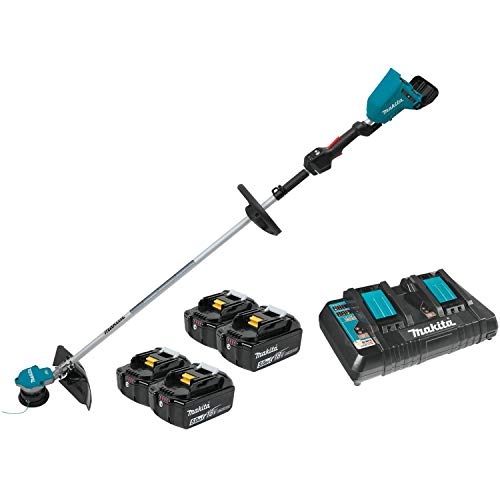 Makita XRU09PT1 18V X2 (36V) LXT Lithium-Ion Brushless Cordless String Trimmer Kit with 4 Batteries (5.0Ah), -