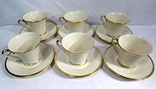 Gold 24k Saucer - Lenox China Dimension Collection Eternal Cream Cups & Saucers (Set of Six) 24K Gold Trim