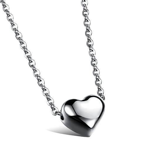 Cupimatch Womens Heart Pendant Necklace Gift, Stainless Steel Love Charm Chain Included (Silver) (Steel Solid Stainless Pendant)