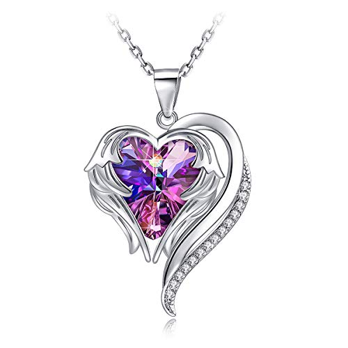 (PAERAPAK Heart Jewelry Necklace for Women - Angel Wing Heart of The Ocean Pendant Necklace Engraved I Love You Mom Embellished with Crystals from Swarovski Birtherday Jewelry Gifts for Her)