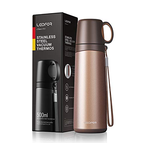 Leidfor Coffee Thermos Travel Mug Vacuum Insulated Thermal Water Bottle Build-in Drinking Cup Stainless Steel Leakproof 17Ounce Orange (Thermal Drinking Cups)